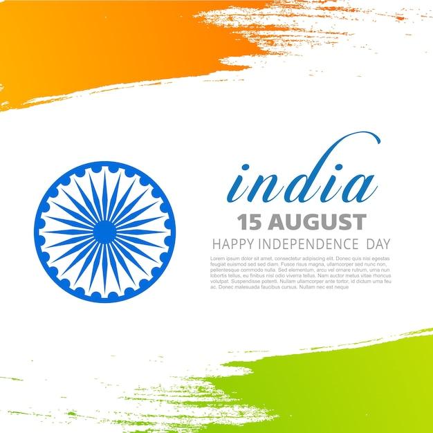 Bandiera tricolore indiana con ruota su sfondo bianco mostrando la pace con tipografia semplice illustrazione poster Vettore gratuito