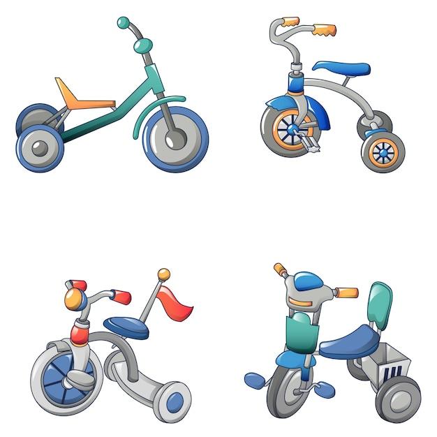 Tricycle bicycle bike icons set Premium Vector