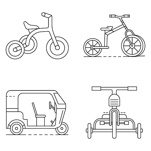 Tricycle icon set. outline set of tricycle vector icons Premium Vector