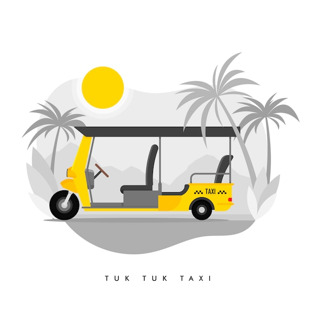 Tricycle taxi service illustration Premium Vector