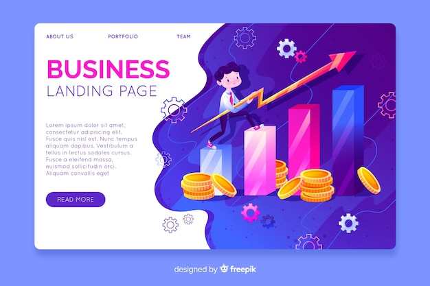 Tridimensional business landing page template Free Vector