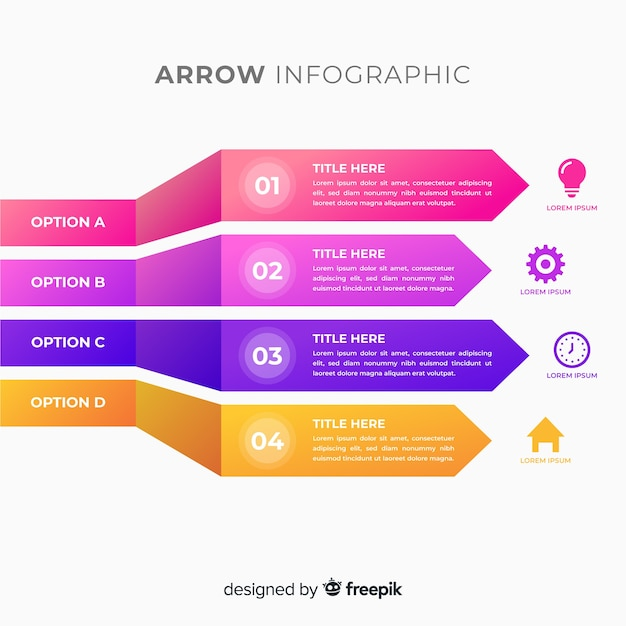 Tridimensional colorful gradient arrow infographics Free Vector