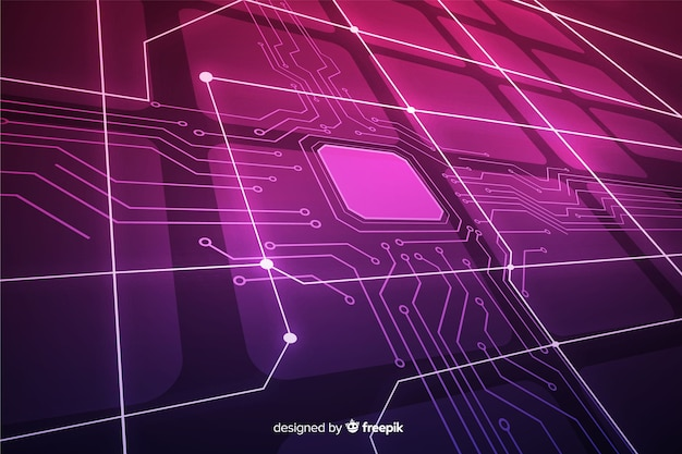 Tridimensional gradient circuit board background Free Vector