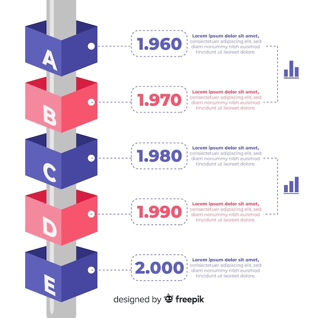 Tridimensional infographics of time line Free Vector