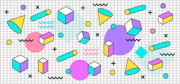 Tridimensional pastel shapes background Premium Vector