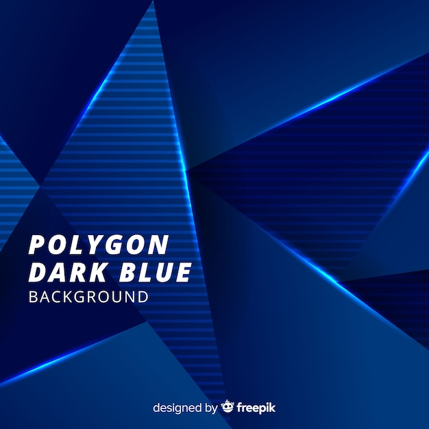 Tridimensional polygon dark blue background Free Vector
