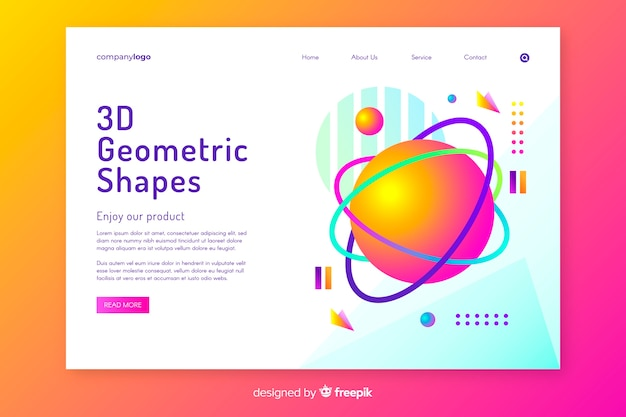 Tridimensional shapes landing page template Free Vector