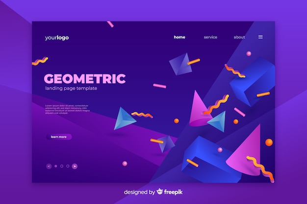 Tridimesional shapes landing page template Free Vector