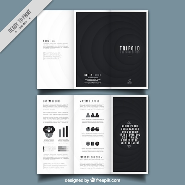 trifold brochure design with black round shapes free vector
