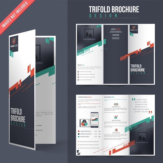 Trifold Brochure Design With Color Details Vector | Premium Download