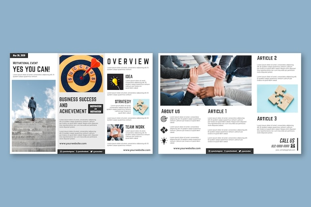 Trifold brochure template concept Free Vector
