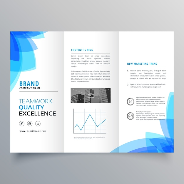 Trifold brochure template design with abstract blue shapes for Free brochure layout template