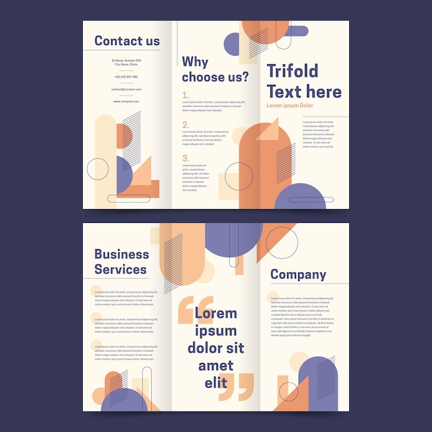 Trifold brochure template design Free Vector