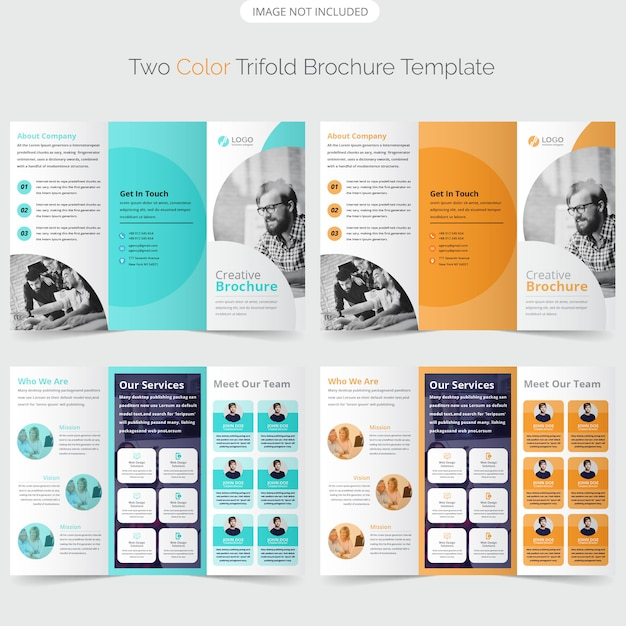 Trifold brochure template design Premium Vector