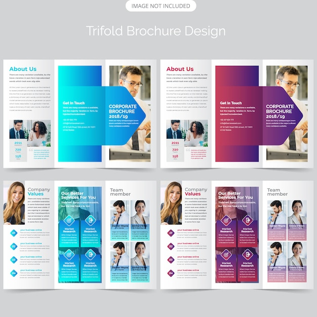 Trifold brochure template design Premium Vector
