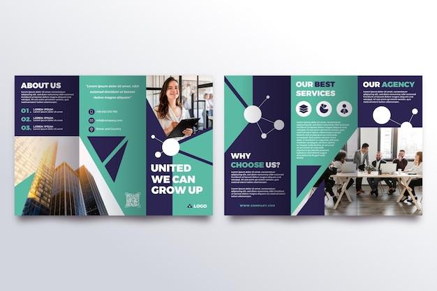 Шаблон брошюры trifold с фото Бесплатные векторы