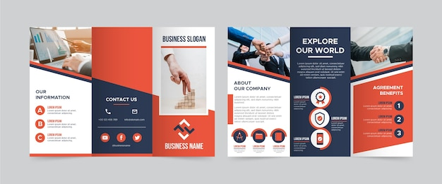 Trifold brochure template with photo Premium Vector