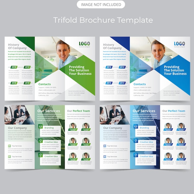 Trifold brochure template Premium Vector