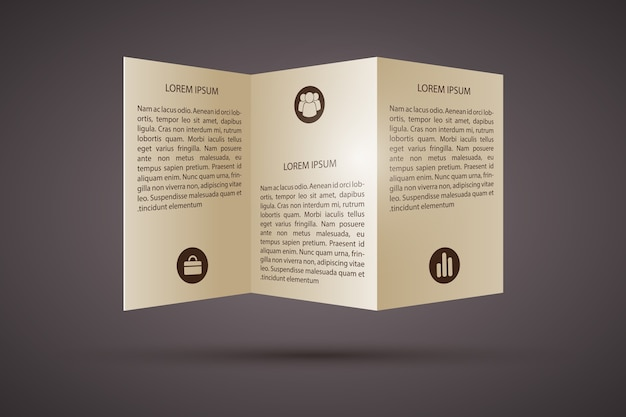 Trifold brochure with icons  template Free Vector