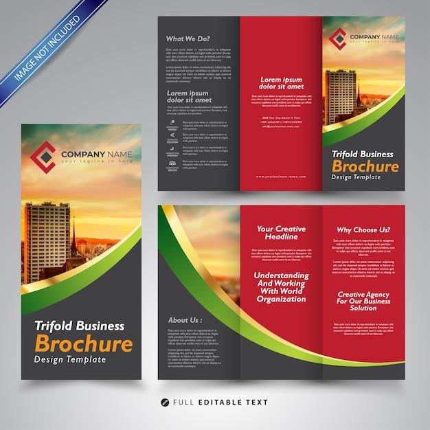Trifold business brochure design template Premium Vector