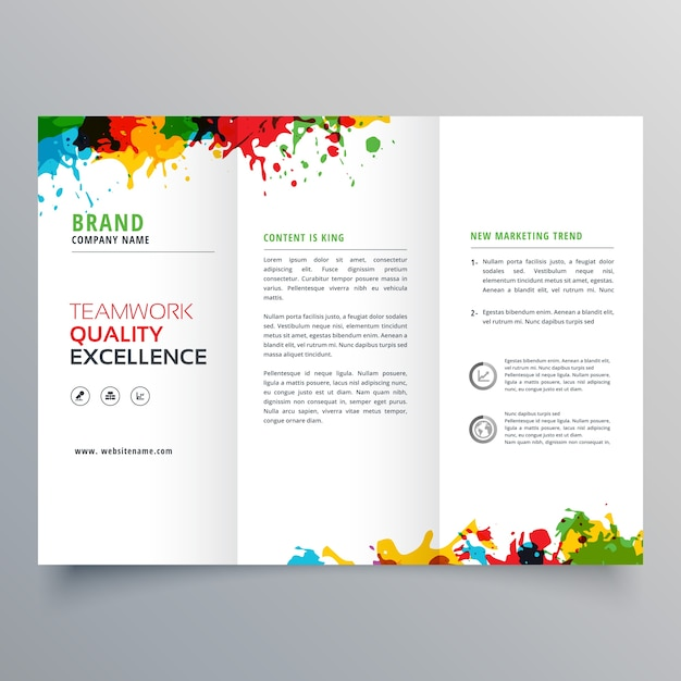 trifold business brochure template with colorful paint stains vector