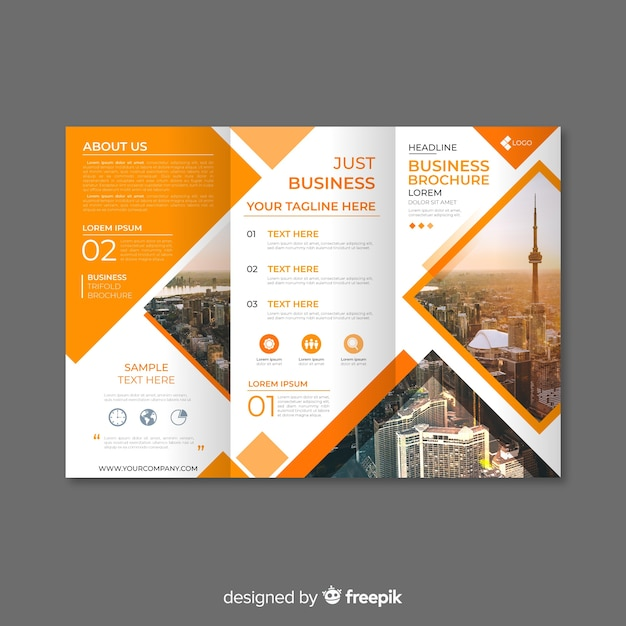 Booklet Design Template Free: Trifold Business Brochure Template