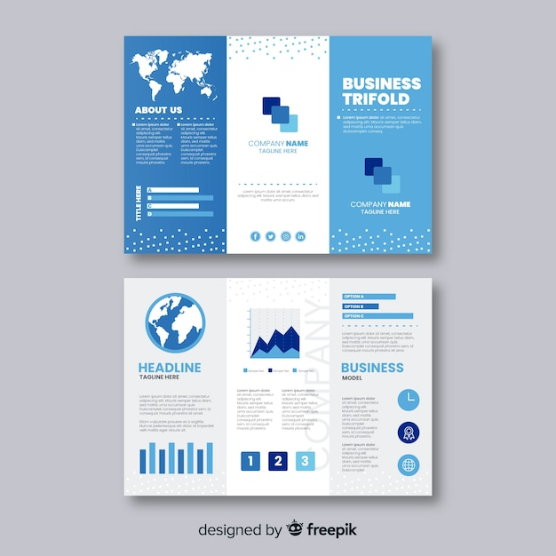 Trifold business brochure template Free Vector