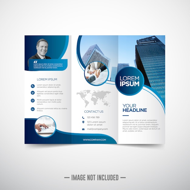 Trifold business brochure template Premium Vector