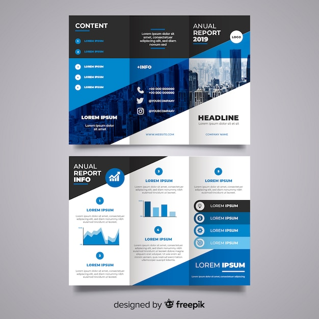 Trifold business brochure Free Vector