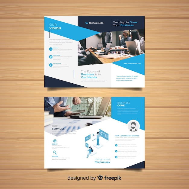 Trifold business flyer template Free Vector