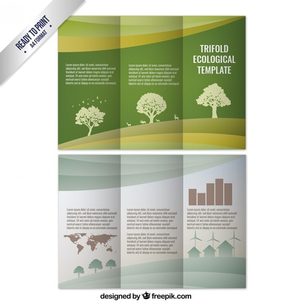 Trifold ecological template with trees Free Vector
