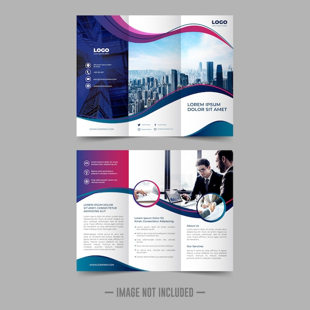 Trifold flyer brochure design template Premium Vector