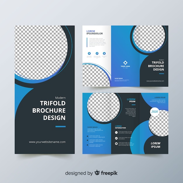 Trifold flyer template Premium Vector