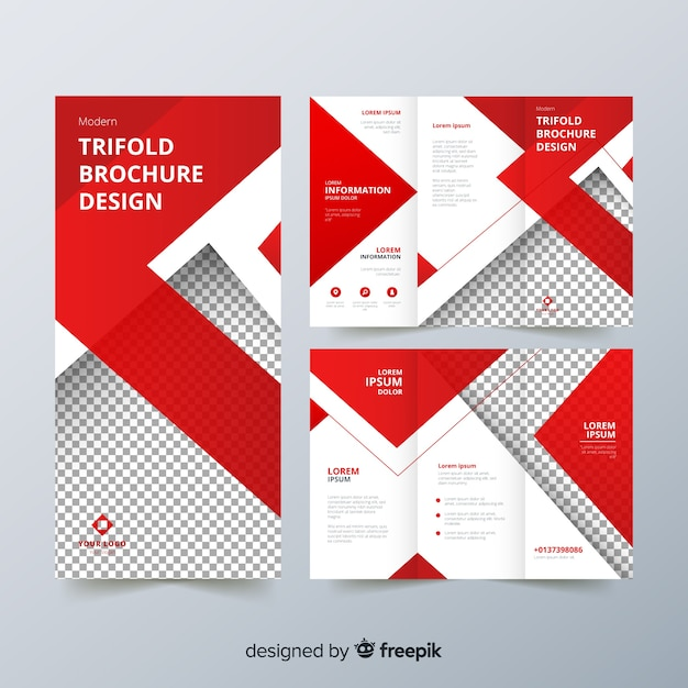 Trifold flyer template Free Vector