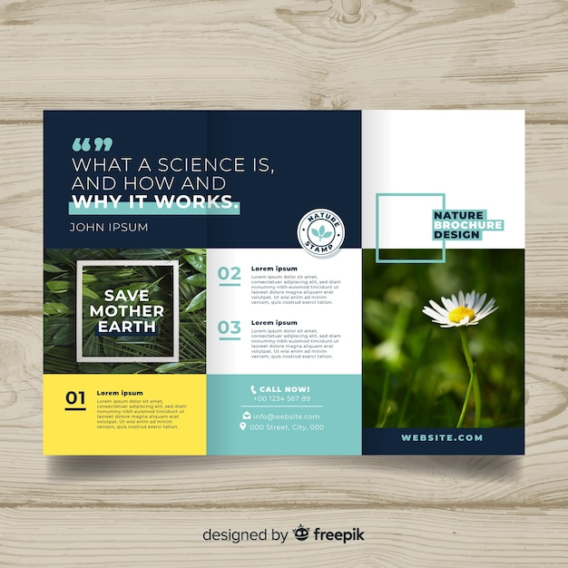 Trifold nature flyer with image Free Vector