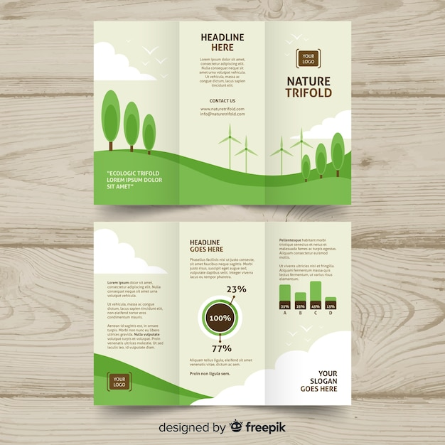 Trifold nature flyer Free Vector