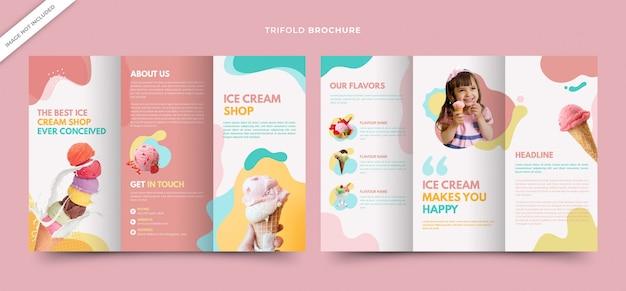 Шаблон брошюры trifold smooth для магазина мороженого Premium векторы