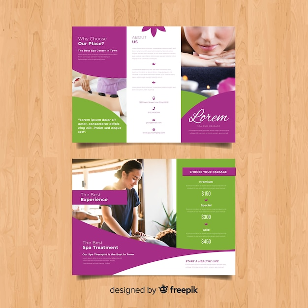 Trifold spa flyer template Free Vector
