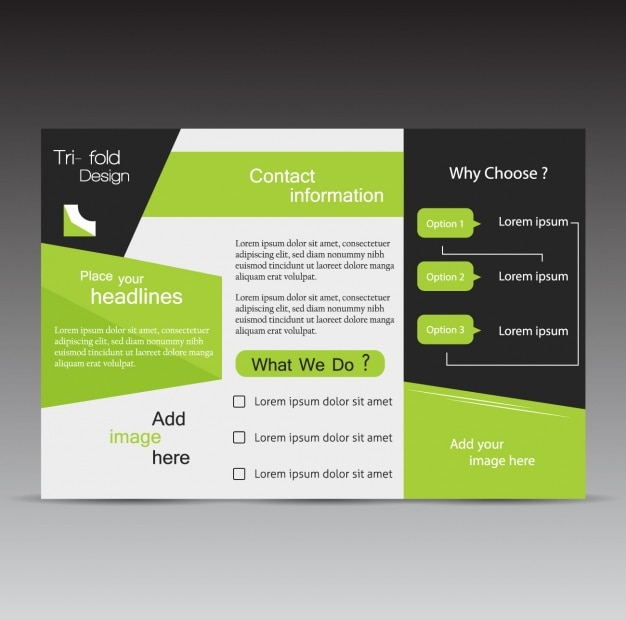 Trifold template design Free Vector