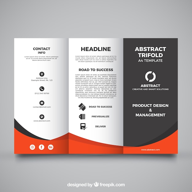 Trifold template with orange details Free Vector