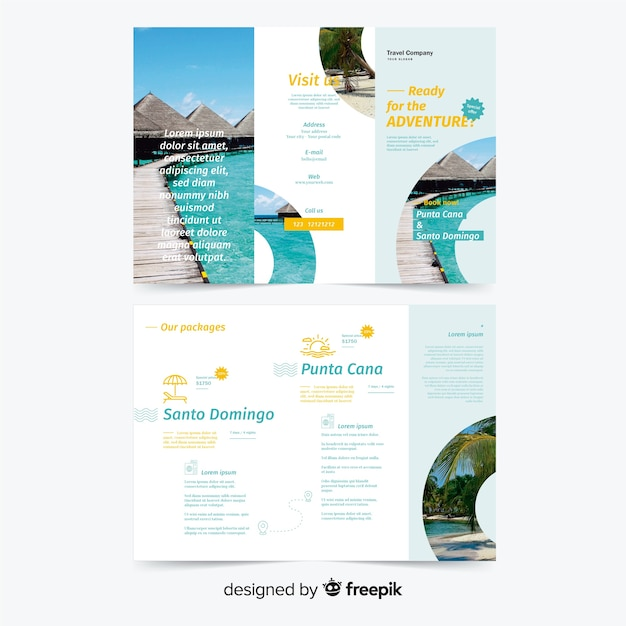 Trifold Travel Brochure Template Vector Free Download