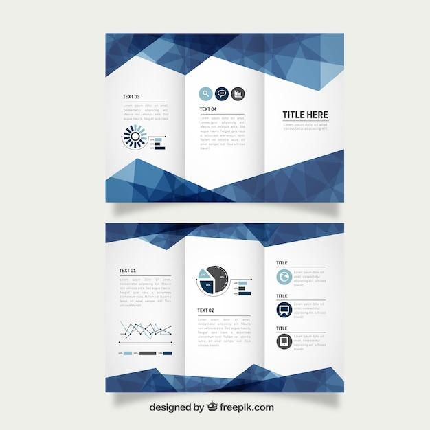 Геометрическая синий бизнес trifold Бесплатные векторы
