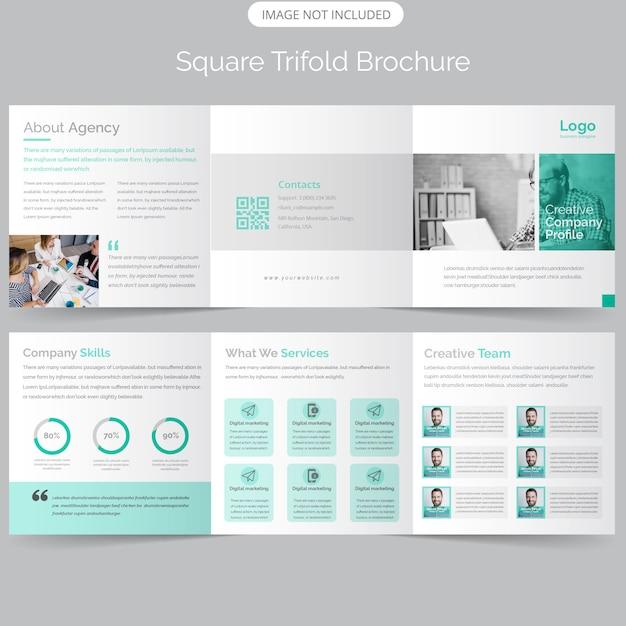 Бизнес корпоративная площадь брошюра trifold Premium векторы
