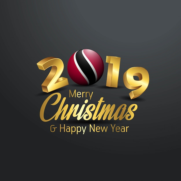 Trinidad and tobago flag 2019 merry christmas typography Premium Vector
