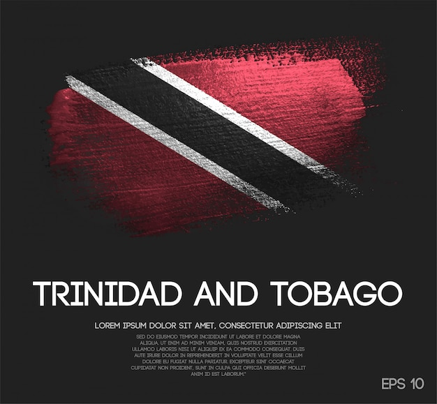 Trinidad and tobago flag made of glitter sparkle brush paint Premium Vector