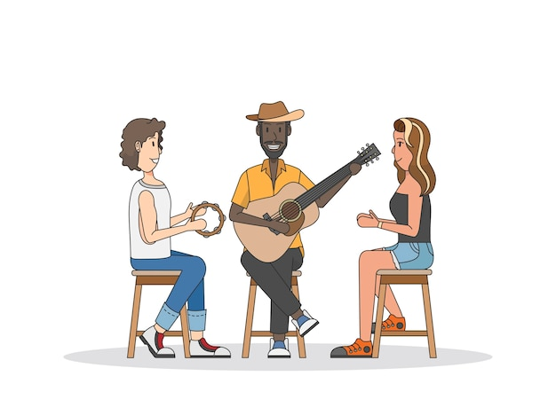 Trio of musicians performing Free Vector