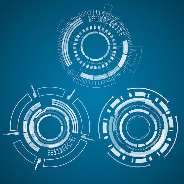 青の中央にサーセル、正方形、その他のものを備えたリアルなテクノロジーコレクションのトリオセット 無料ベクター