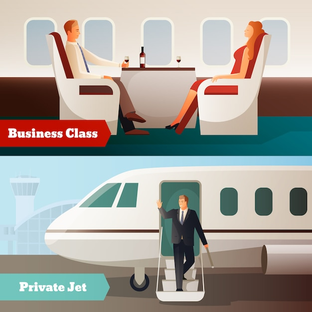 Trip on airplane horizontal banners Free Vector