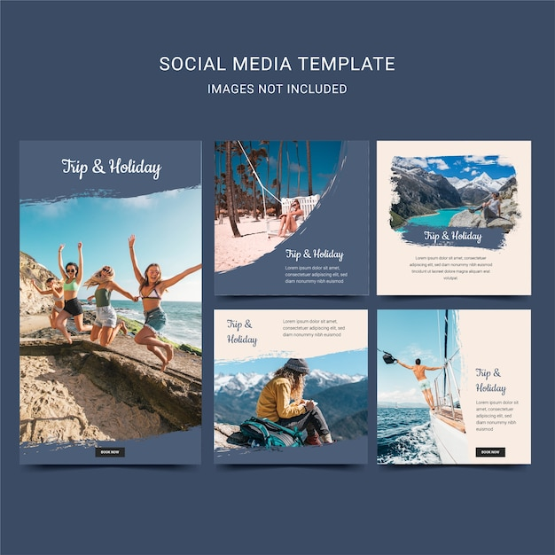 旅行や休日の休暇。ブルーネイビーカラーの旅行ソーシャルメディアテンプレート Premiumベクター
