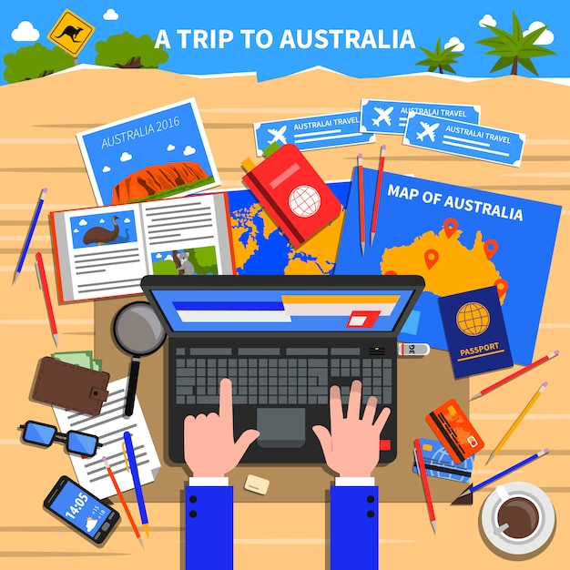 Trip to australia illustration Free Vector